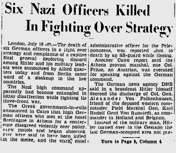 Six Nazi Officers Killed In Fighting Over Strategy